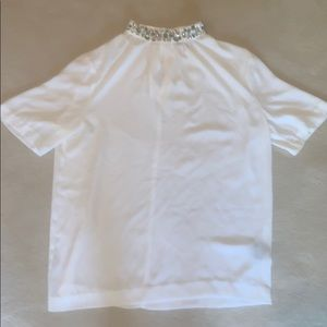 Vince camuto- embellished collar white work shirt